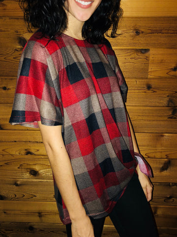 Red Gingham Checker Plaid Top - Aunt Lillie Bells