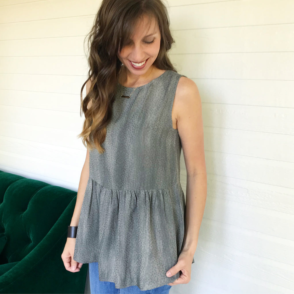 Charcoal Peplum Tie Dye Top - Aunt Lillie Bells