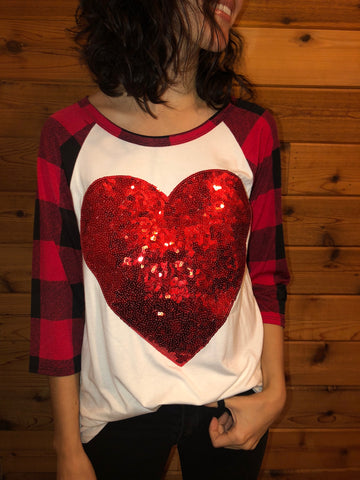 Red Seqiun Heart T-Shirt - Aunt Lillie Bells