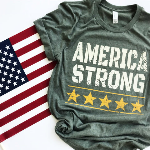 America Strong T-Shirt  in army green, in our texas boutique aunt lillie bells