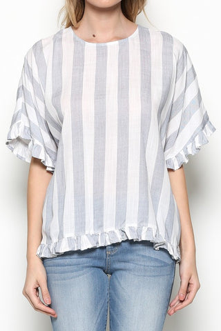 Blue and White Stripe Ruffle Top - Aunt Lillie Bells