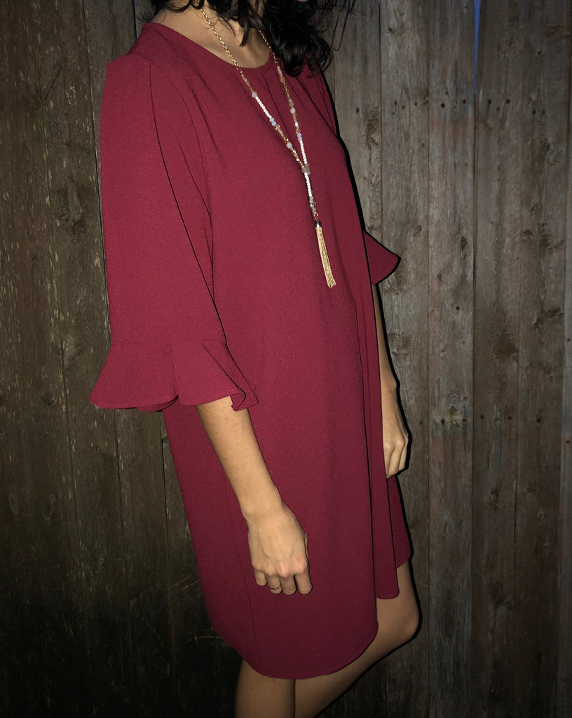Burgundy Ruffle Sleeve Dress - Aunt Lillie Bells