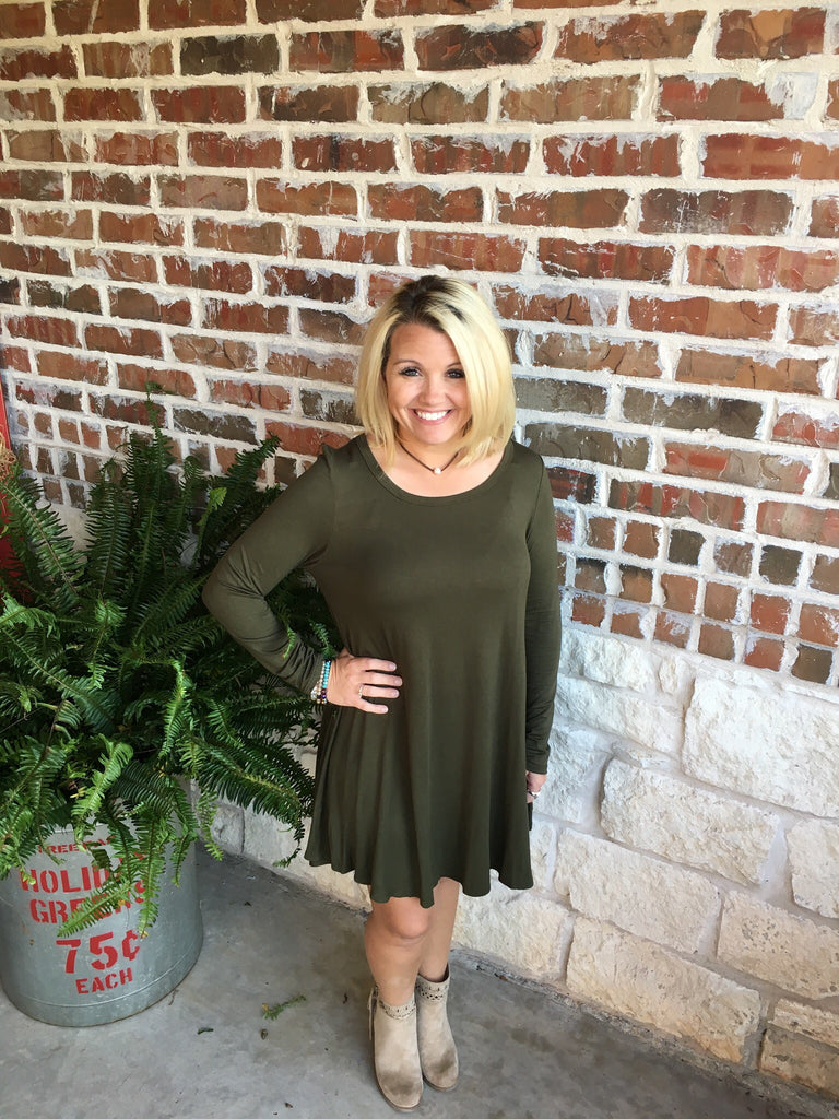 Olive Green Dress - Aunt Lillie Bells
