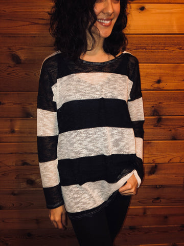 black and white sweater with drop shoulders