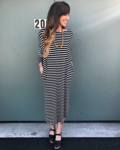 Black and Ivory Striped Midi Dress - Aunt Lillie Bells