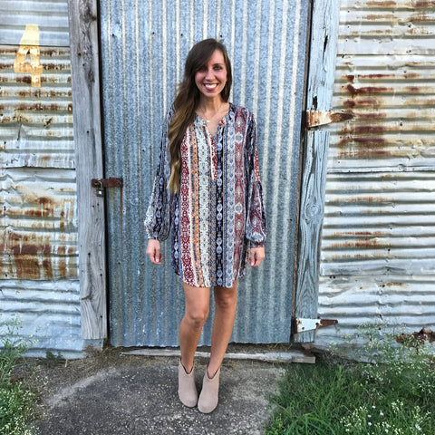 Boho Print Dress - Aunt Lillie Bells