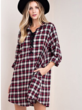 Red and Black Plaid Shirt Dress - Aunt Lillie Bells