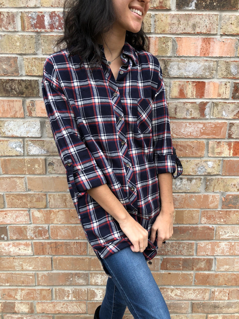 Navy Plaid Shirt - Aunt Lillie Bells