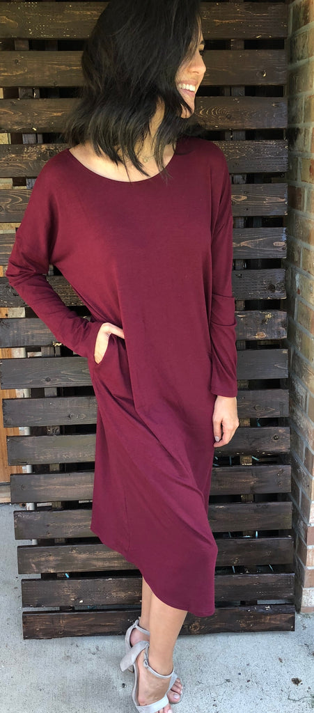 Burgundy Drop Shoulder Dress - Aunt Lillie Bells