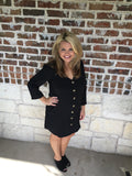 Black Button Down Tunic Dress - Aunt Lillie Bells
