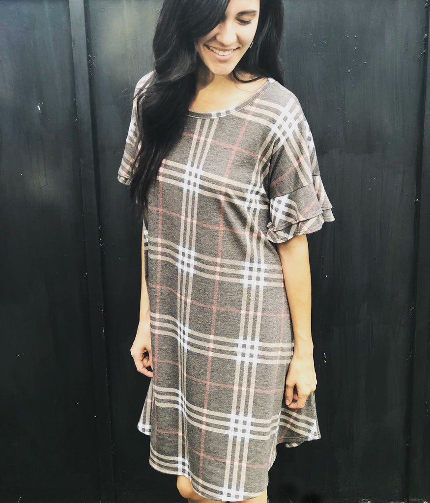 Charcoal Plaid Dress - Aunt Lillie Bells