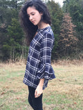Plaid Bell Sleeve Top - Aunt Lillie Bells