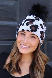 White Leopard Cable Knit Hat