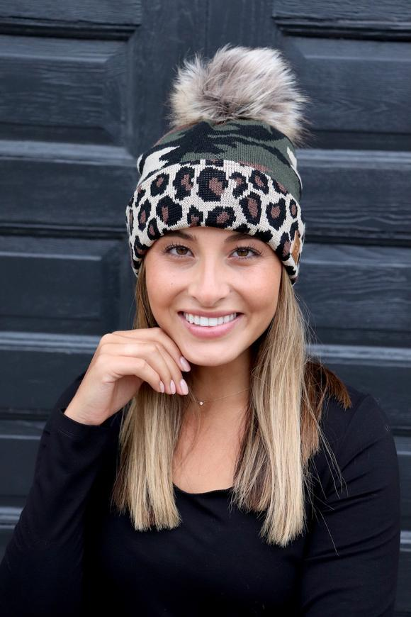 Camo Knit Cap with Leopard Trim
