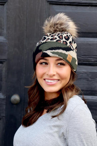 leopard knit cap with camo trim
