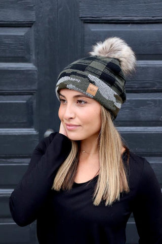 green and black plaid knit cap with camo trim