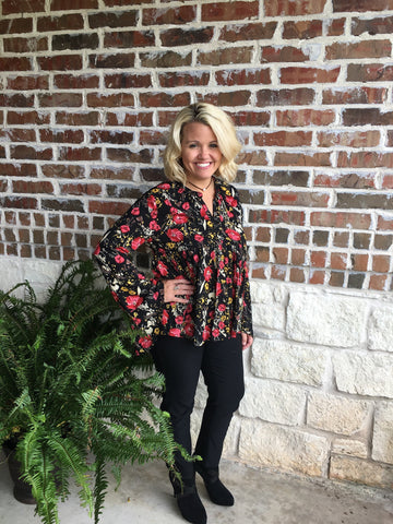 Black Floral Bell Sleeve Top - Aunt Lillie Bells