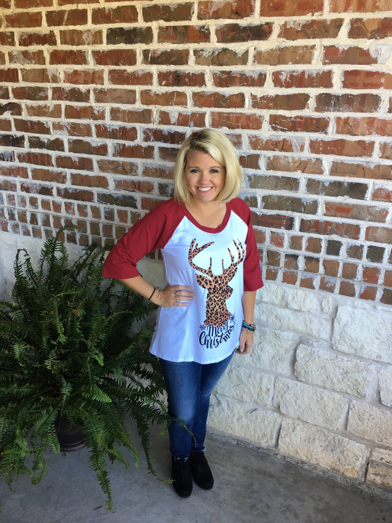 Leopard Deer Christmas Shirt - Aunt Lillie Bells