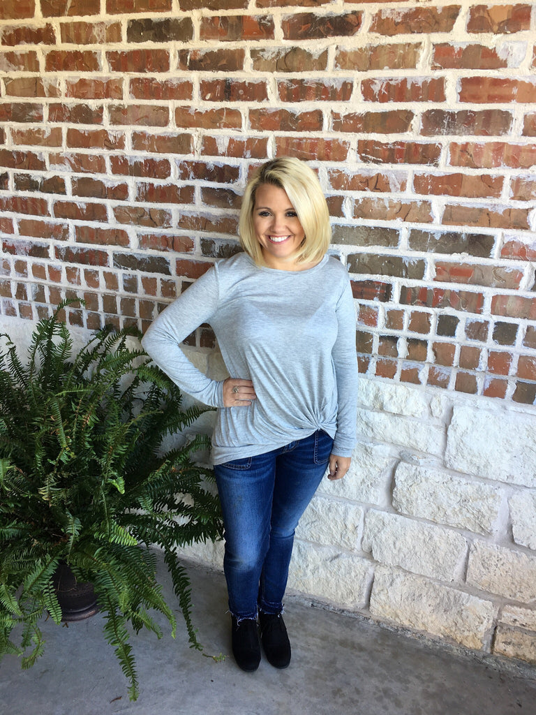 Heather Grey Twist Top - Aunt Lillie Bells