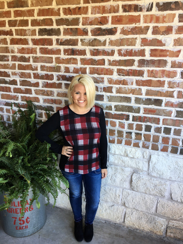 Red and Black Plaid Top - Aunt Lillie Bells