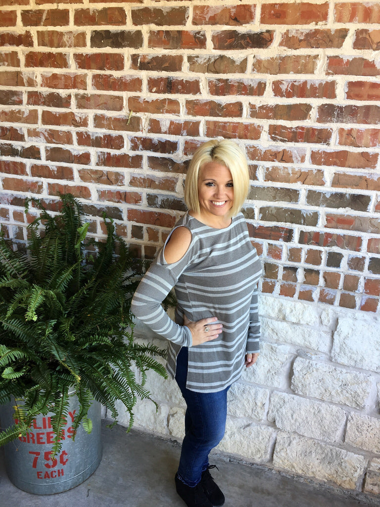 Grey and White Striped Top with Cold Shoulder - Aunt Lillie Bells