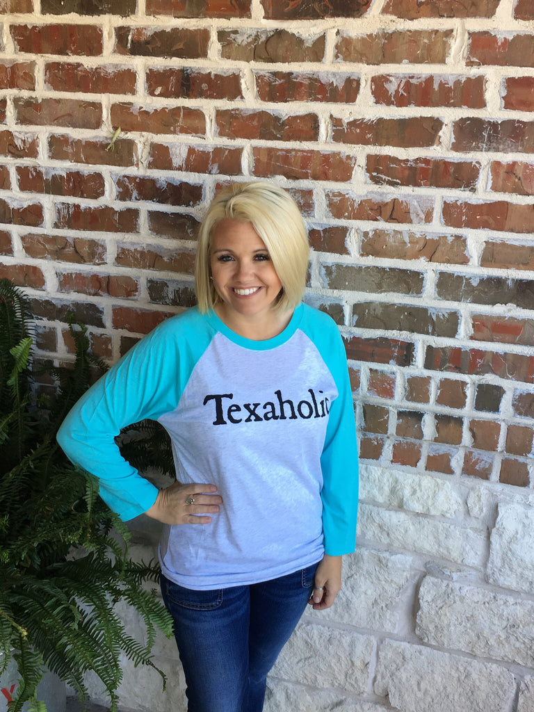 Texaholic Raglan Tee with Turquoise Sleeves Aunt Lillie Bells