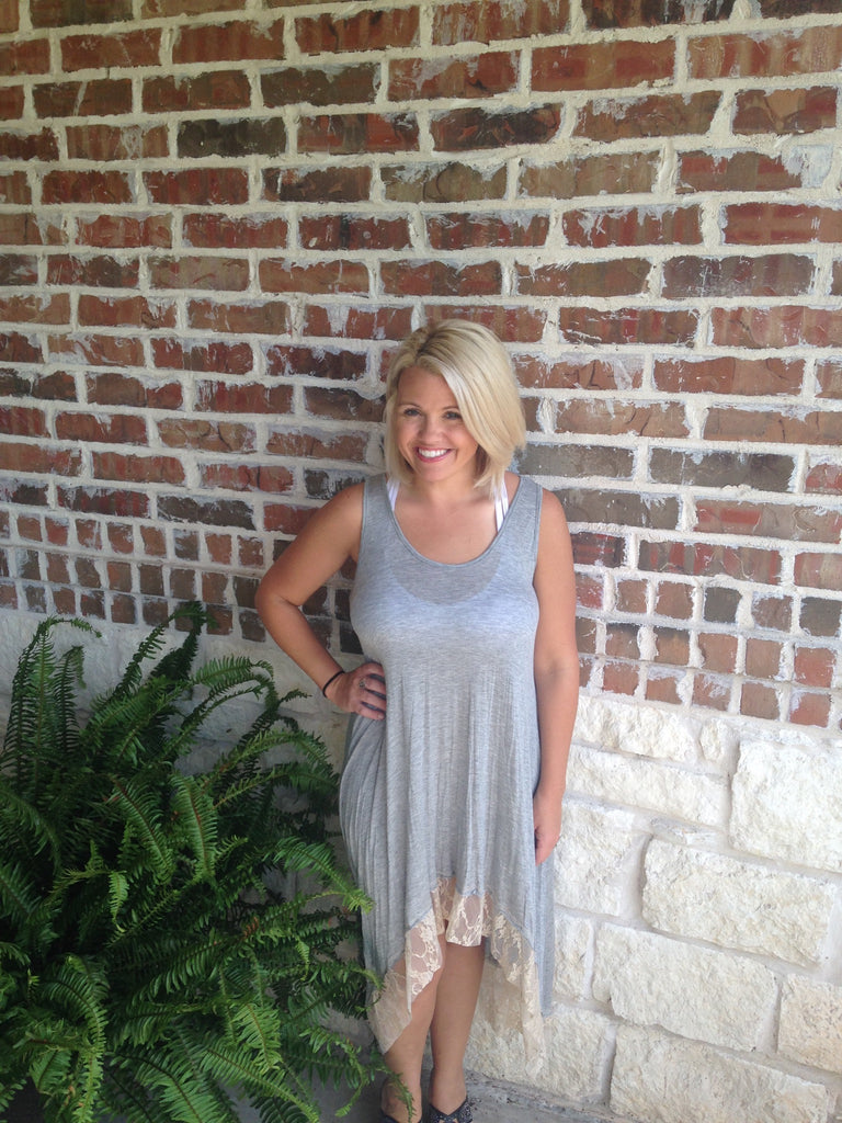 Grey Lace Sleeveless Dress - Aunt Lillie Bells