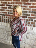 Striped Print Top Aunt Lillie Bells