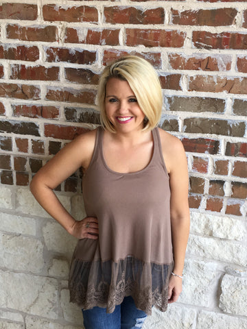 Mocha Tank With Lace - Aunt Lillie Bells