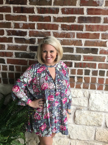 Grey Floral Dress - Aunt Lillie Bells
