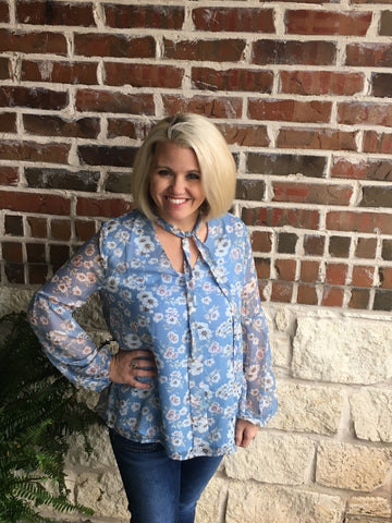 Blue Flower Blouse - Aunt Lillie Bells