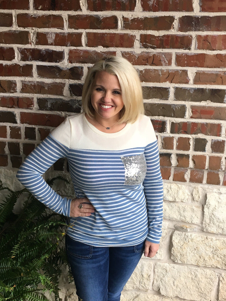 Blue and White Striped Top - Aunt Lillie Bells