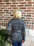 Black and White Sweater with Sequin Patch - Aunt Lillie Bells