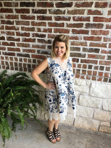 Cream and Navy Swing Dress - Aunt Lillie Bells