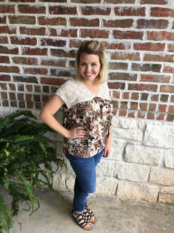 Brown Flower Print Top - Aunt Lillie Bells