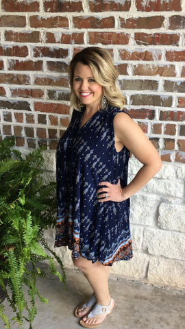 Navy and Brown Print Swing Dress - Aunt Lillie Bells