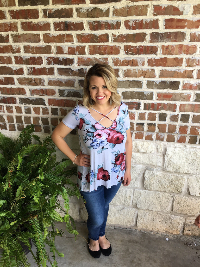 Floral CrissCross Top - Aunt Lillie Bells
