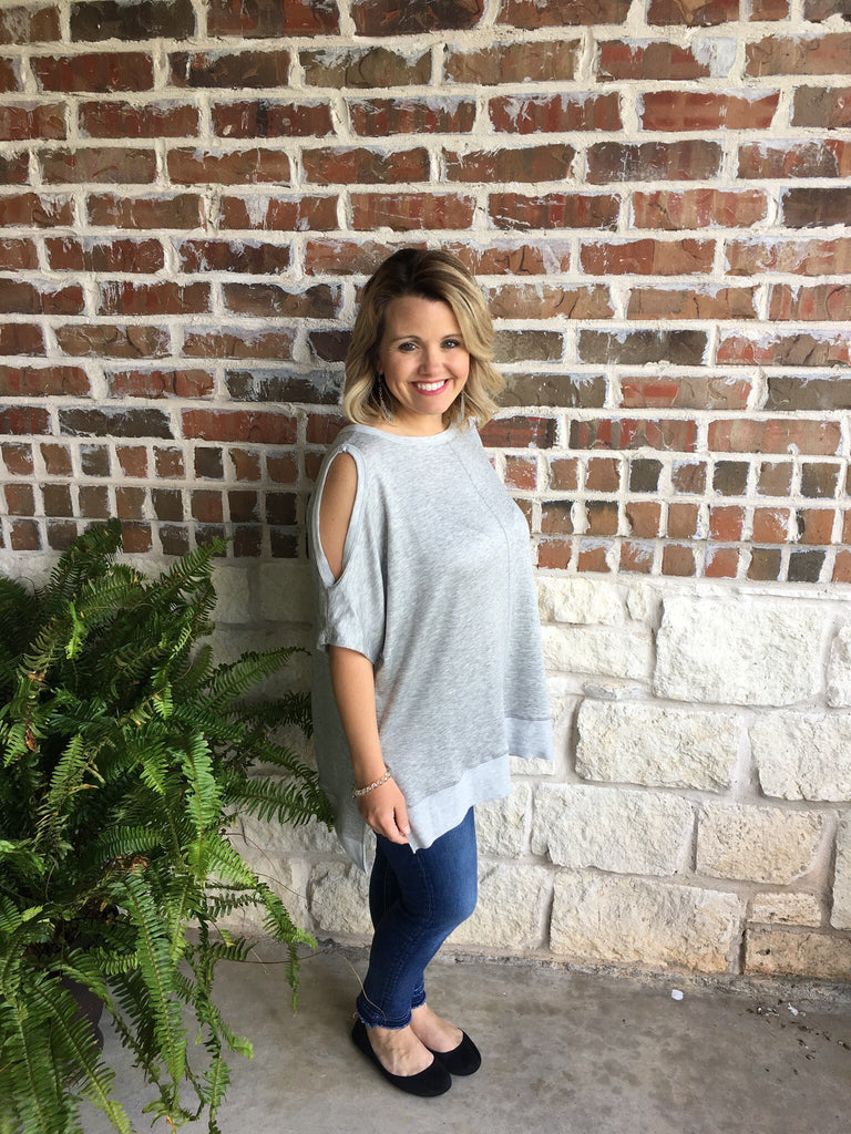 Grey Oversized Cold Shoulder Top - Aunt Lillie Bells