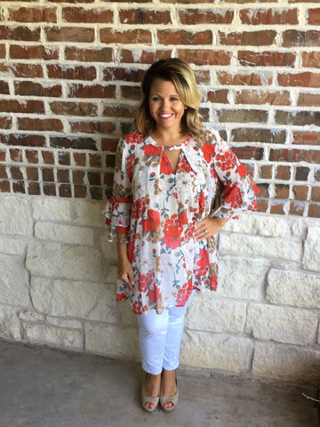 Ivory Floral Tunic - Aunt Lillie Bells