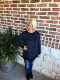 Navy and Black Top with Crisscross Back - Aunt Lillie Bells