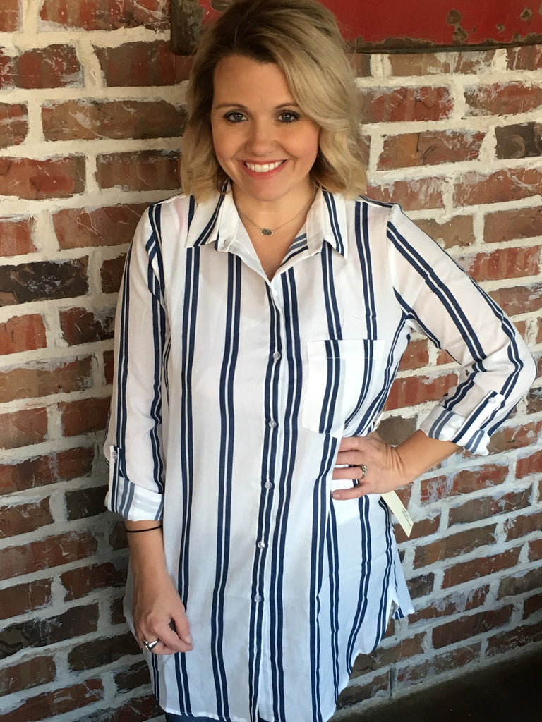 Blue And White Striped Shirt - Aunt Lillie Bells