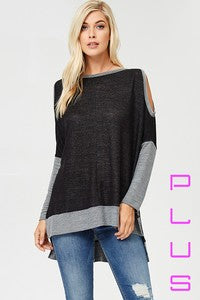Black and Grey Open Shoulder Top - Aunt Lillie Bells