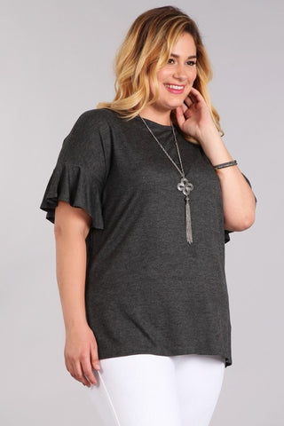 Charcoal Grey Bell Sleeve Top - Aunt Lillie Bells
