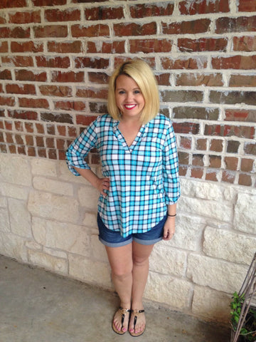 Blue Plaid Shirt - Aunt Lillie Bells