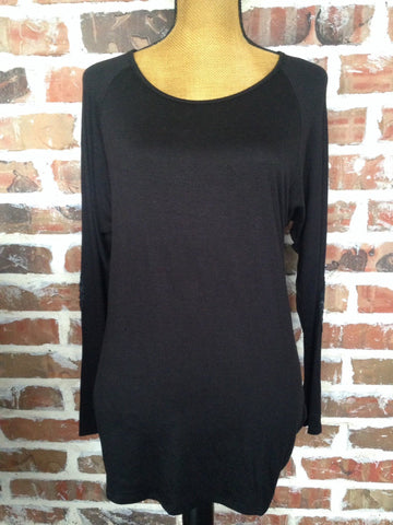Black Top With Black Sequin Elbows - Aunt Lillie Bells