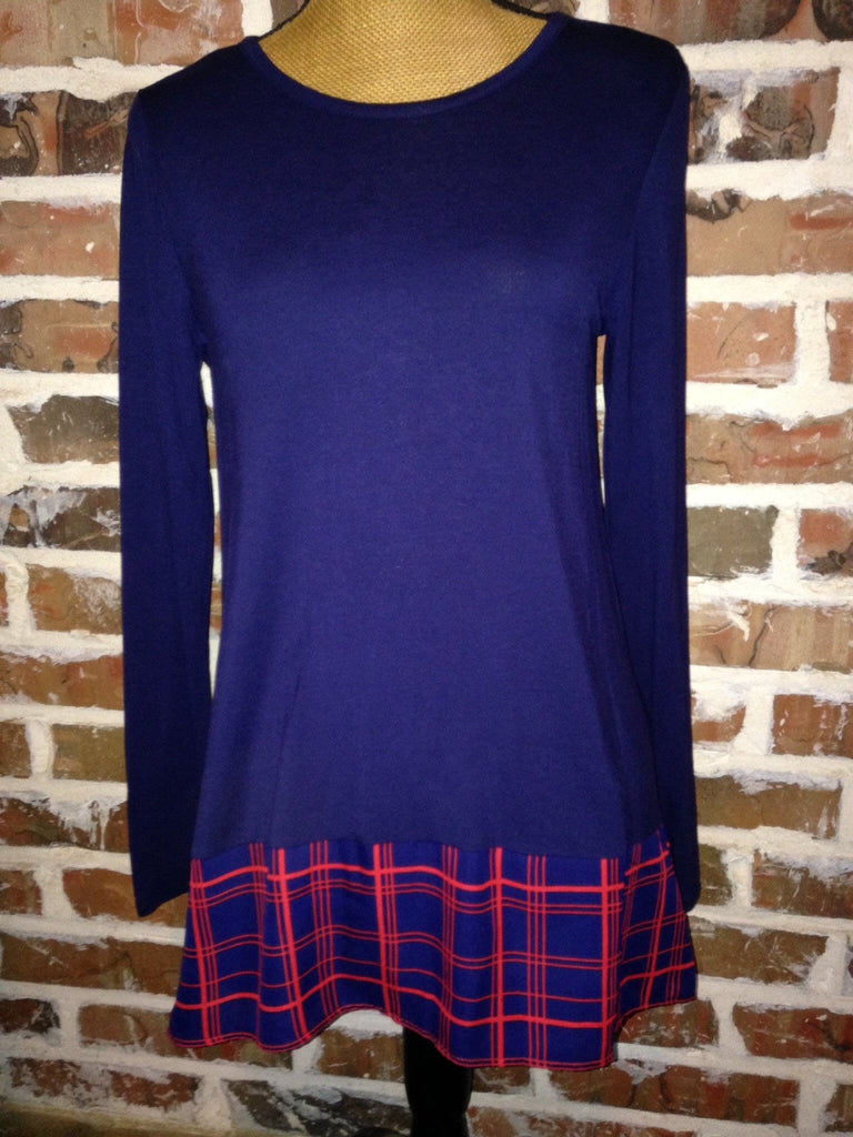 Blue And Red Plaid Top - Aunt Lillie Bells