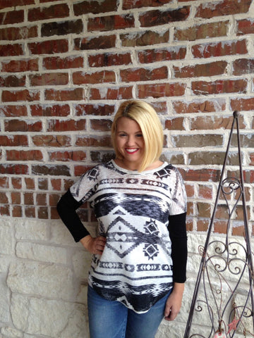 Black And White Aztec Print Top - Aunt Lillie Bells