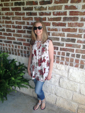 Ivory And Red Floral Keyhole Top - Aunt Lillie Bells