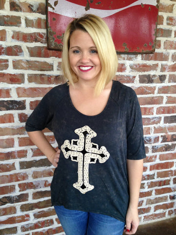 Distressed Black Cross Top - Aunt Lillie Bells