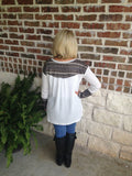 White Top With Brown Print Trim Aunt Lillie Bells